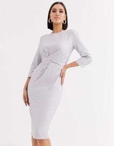 Платье миди с запахом и завязкой ASOS DESIGN-Серый