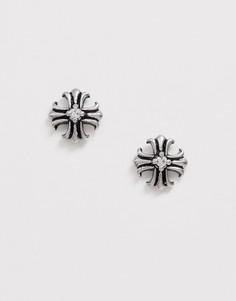 Серебристые серьги-гвоздики с крестами Seven London-Серебряный