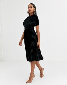 Бархатное платье миди со сборками на плечах ASOS DESIGN-Черный