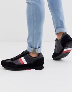 Черные кроссовки из замши и кожи Tommy Hilfiger - corporate-Черный