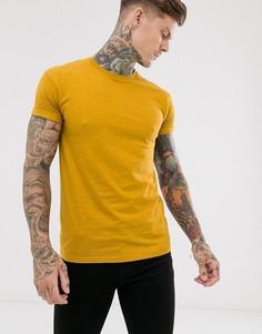 Футболка горчичного цвета с отворотами на рукавах Topman-Желтый