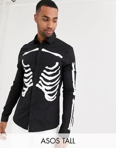 Черная облегающая рубашка для Хэллоуина с принтом грудной клетки ASOS DESIGN Tall-Черный