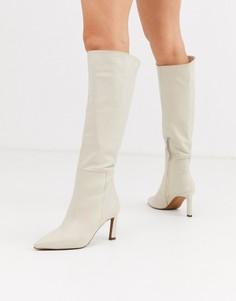 Белые кожаные сапоги ASOS DESIGN Cyprus-Кремовый