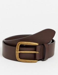 Коричневый широкий кожаный ремень с золотистой пряжкой ASOS DESIGN