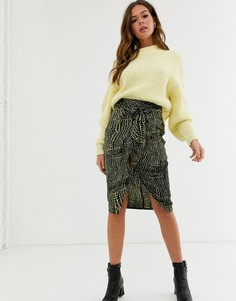 Атласная юбка миди с разрезом спереди и крокодиловым принтом Influence-Мульти