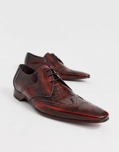Коричневые кожаные туфли с крокодиловым рисунком Jeffery West Escobar-Коричневый