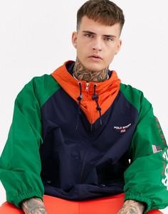 Нейлоновая куртка в стиле колор блок темно-синего/зеленого/желтого цвета без подкладки и с капюшоном Ralph Lauren Sport Capsule-Мульти
