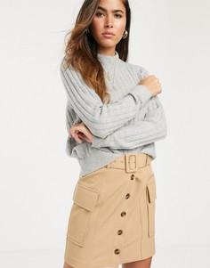 Бежевая мини-юбка в стиле милитари River Island-Бежевый