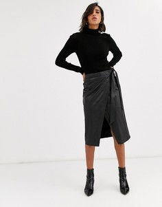 Кожаная юбка миди с запахом Y.A.S-Черный
