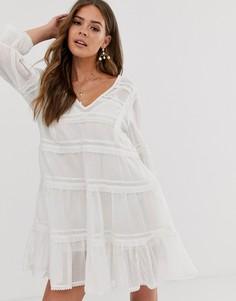 Ярусное платье мини с вышивкой Free People Вerlin-Кремовый