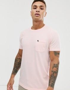 Розовая футболка с круглым вырезом и логотипом Abercrombie & Fitch-Розовый