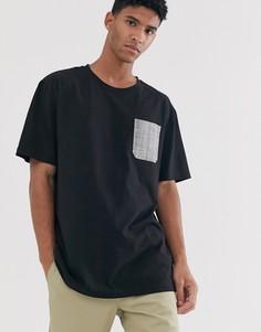Черная oversize-футболка с карманом в клетку Brooklyn Supply Co-Черный