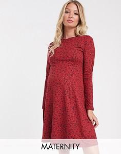 Красное свободное платье с цветочным принтом New Look Maternity-Мульти