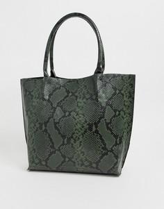 Зеленая большая сумка-тоут со змеиным рисунком Glamorous-Зеленый