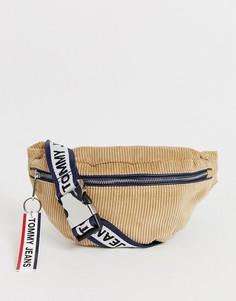 Сетчатая сумка-кошелек на пояс из вельвета с логотипом Tommy Jean-Бежевый