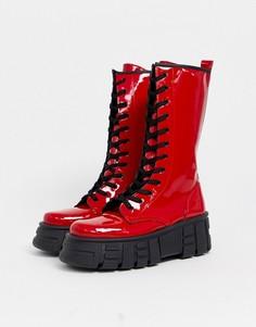 Красные лакированные ботинки на массивной подошве со шнуровкой ASOS DESIGN-Красный