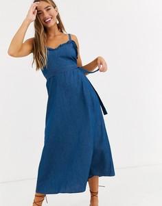 Джинсовое платье миди с оборками Lost Ink-Синий