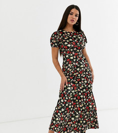 Чайное бархатное платье с принтом ASOS DESIGN Petite-Мульти