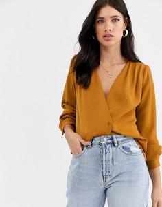 Блузка с запахом и объемными рукавами Vero Moda-Оранжевый