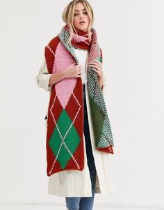 Длинный вязаный шарф с узором аргайл ASOS DESIGN-Мульти