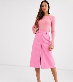 Юбка миди из мягкой искусственной кожи на пуговицах Glamorous-Розовый
