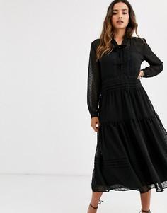 Платье миди с кружевом и отделкой в горошек Y.A.S-Черный