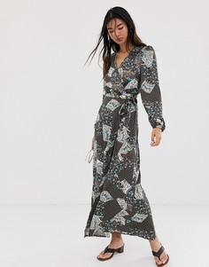 Платье макси с запахом и принтом пейсли Only-Коричневый