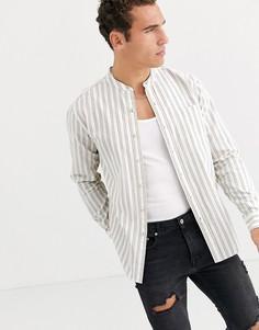 Белая рубашка в полоску с длинными рукавами и воротом на пуговице Topman-Белый