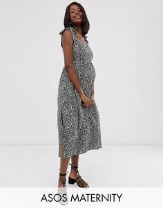 Платье макси с леопардовым принтом и присборенной вставкой Wild Honey Maternity-Темно-синий