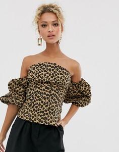 Топ с запахом и леопардовым принтом Never Fully Dressed-Мульти