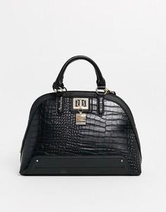 Черная лакированная сумка с рисунком крокодиловой кожи и ручками River Island-Черный