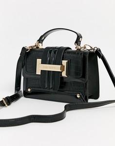 Черная маленькая лакированная сумка River Island-Черный