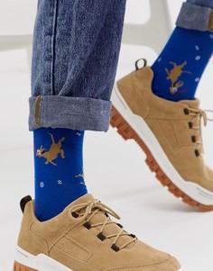 Короткие носки с принтом собаки ASOS DESIGN-Синий