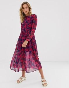 Розовое платье миди с цветочным принтом NA-KD-Розовый
