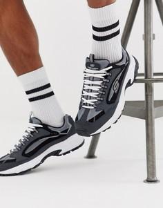 Серо-синие кроссовки на массивной подошве Skechers Stamina Cutback-Серый