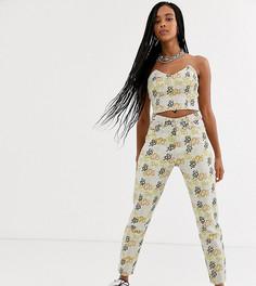 Джинсы в винтажном стиле с завышенной талией и змеиным принтом One Above Another-Кремовый