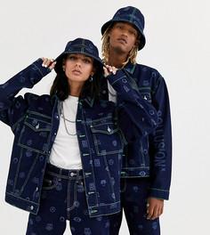 Джинсовая куртка в стиле унисекс с принтом и неоновыми строчками COLLUSION-Синий