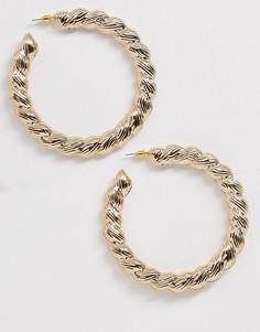 Золотистые витые серьги-кольца Missguided-Золотой