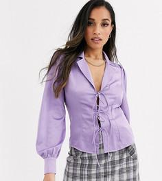 Атласная блузка с завязкой Fashion Union Petite-Фиолетовый