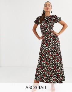 Бархатное чайное платье макси с принтом ASOS DESIGN Tall-Мульти