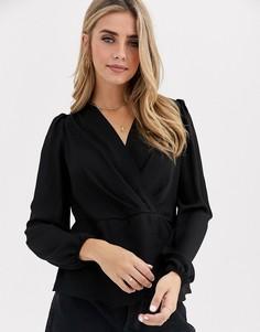 Черная блузка с запахом New Look-Черный