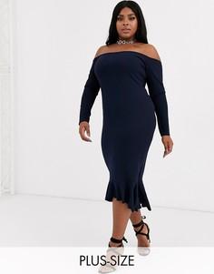 Темно-синее платье миди со спущенными плечами и годе Missguided Plus-Темно-синий