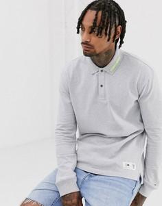 Трикотажная футболка-поло с длинными рукавами Tommy Jeans-Серый