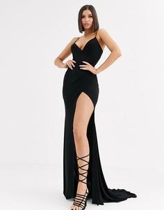 Черное платье макси с глубоким вырезом и разрезом Club L London-Черный