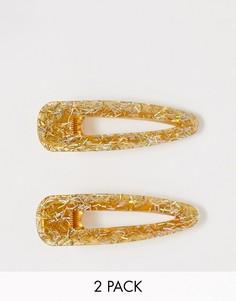 Золотистая заколка для волос с блестящим эффектом Pieces Sparky-Золотой