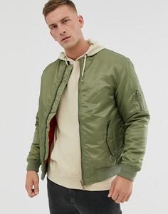 Куртка-бомбер цвета хаки Soul Star MA1-Зеленый