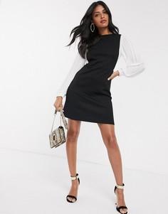 Черное платье с плиссировкой River Island-Черный