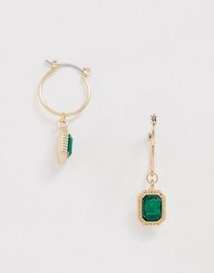 Серьги-кольца с зелеными камнями Uncommon Souls-Зеленый