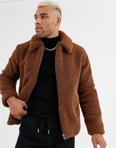 Коричневая флисовая куртка Topman-Коричневый
