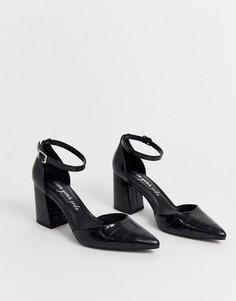 Черные туфли с острым носком и крокодиловым рисунком New Look-Черный